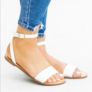 Soda White Comfy Ankle Strap Buckle Sandals